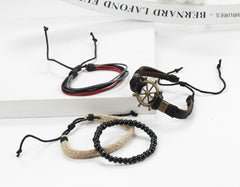 Rudder Anchor Hand Woven Multilayer Bracelet - Oh Yours Fashion - 3