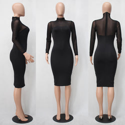 Sexy Long-Sleeved Perspective Bodycon Knee-length Dress - Oh Yours Fashion - 3
