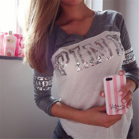 V-neck Long Sleeves Sequin Letter Print T-shirt