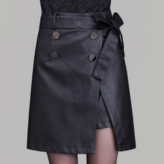 Black PU Belt Button Split Short Skirt - Oh Yours Fashion - 1