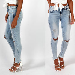 Sexy Light Blue Hole Low Waist Slim Pants - Oh Yours Fashion - 1