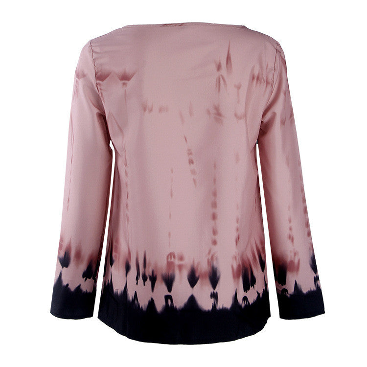 Fashion Pink Tie-Dye Leaking Print Long Sleeve Blouse - Oh Yours Fashion - 7
