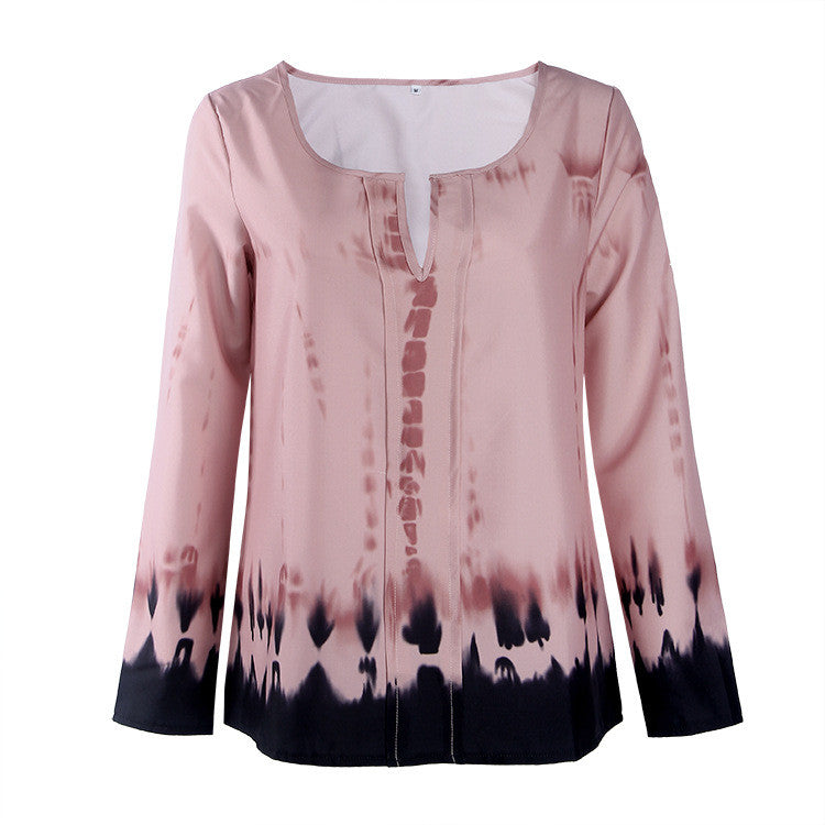 Fashion Pink Tie-Dye Leaking Print Long Sleeve Blouse - Oh Yours Fashion - 6