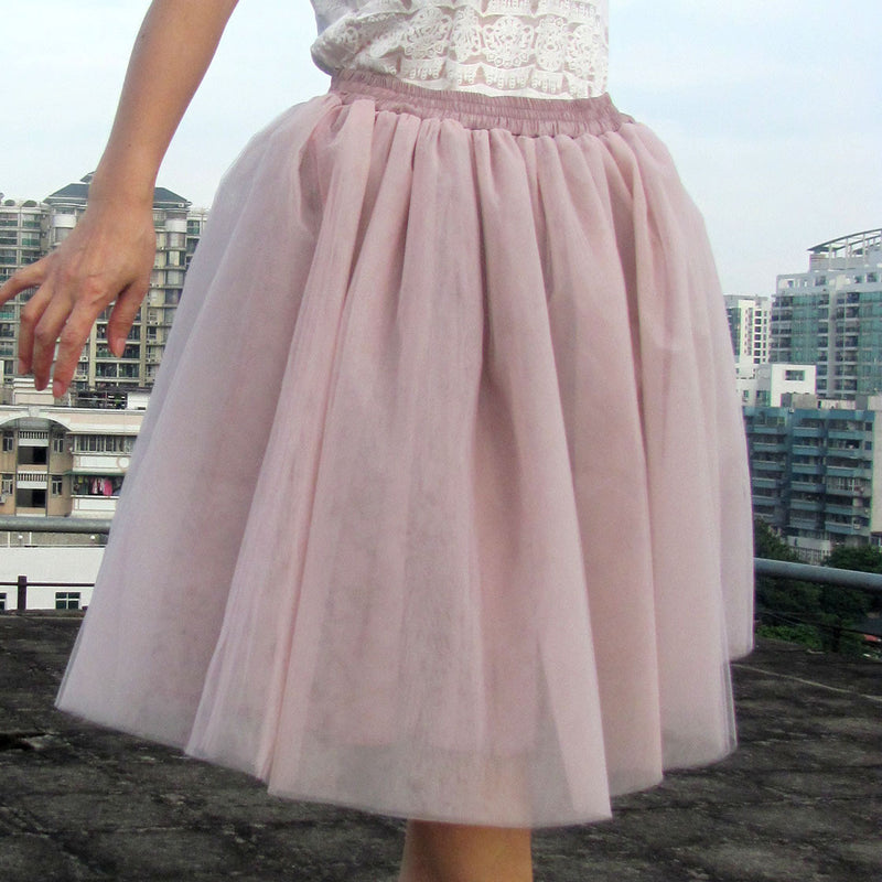 Lovely 7 Layers Pleated Flared Veil Skirt - Oh Yours Fashion - 7