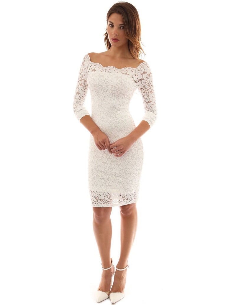Sexy Long Sleeve Off Shoulder Bodycon Lace Short Dress - Oh Yours Fashion - 3