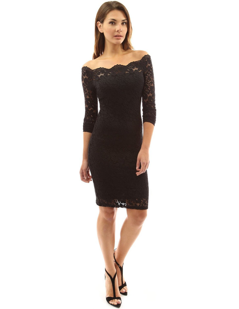 Sexy Long Sleeve Off Shoulder Bodycon Lace Short Dress - Oh Yours Fashion - 5