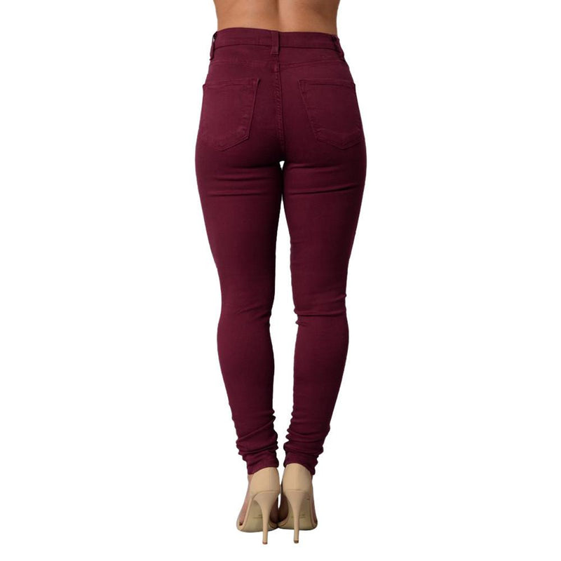 High Waist Elastic Pure Color Holes Slim Pants