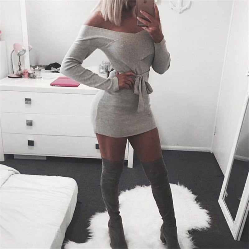 Deep V Neck Off Shoulder Wrap Short Bodycon Dress With Belt - Oh Yours Fashion - 6