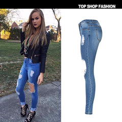 Big Holes Cut Out Middle Waist Long Skinny Jeans