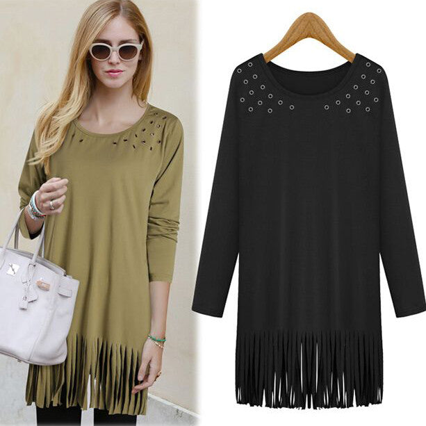 Plus Size Tassel Hollow Long T-shirts - Oh Yours Fashion - 2