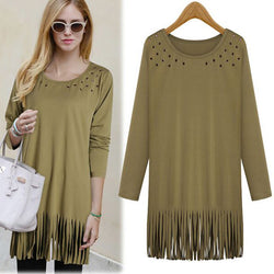 Plus Size Tassel Hollow Long T-shirts - Oh Yours Fashion - 1