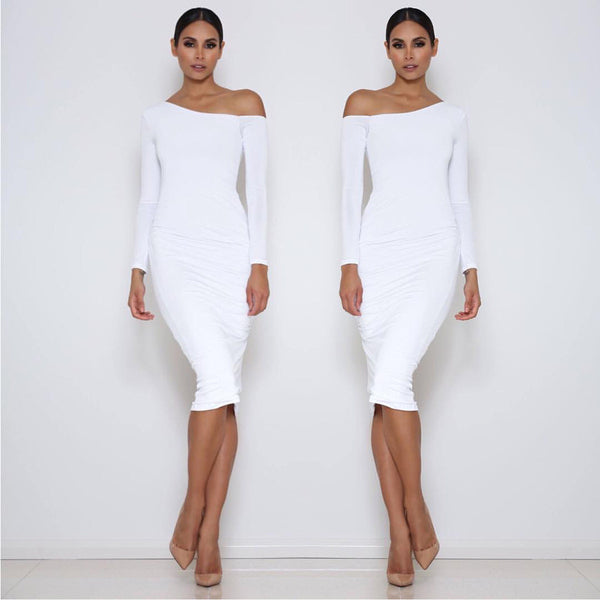 Long Sleeve Oblique Neck Knee-length Pure Color Party Bodycon Dress - Oh Yours Fashion - 1