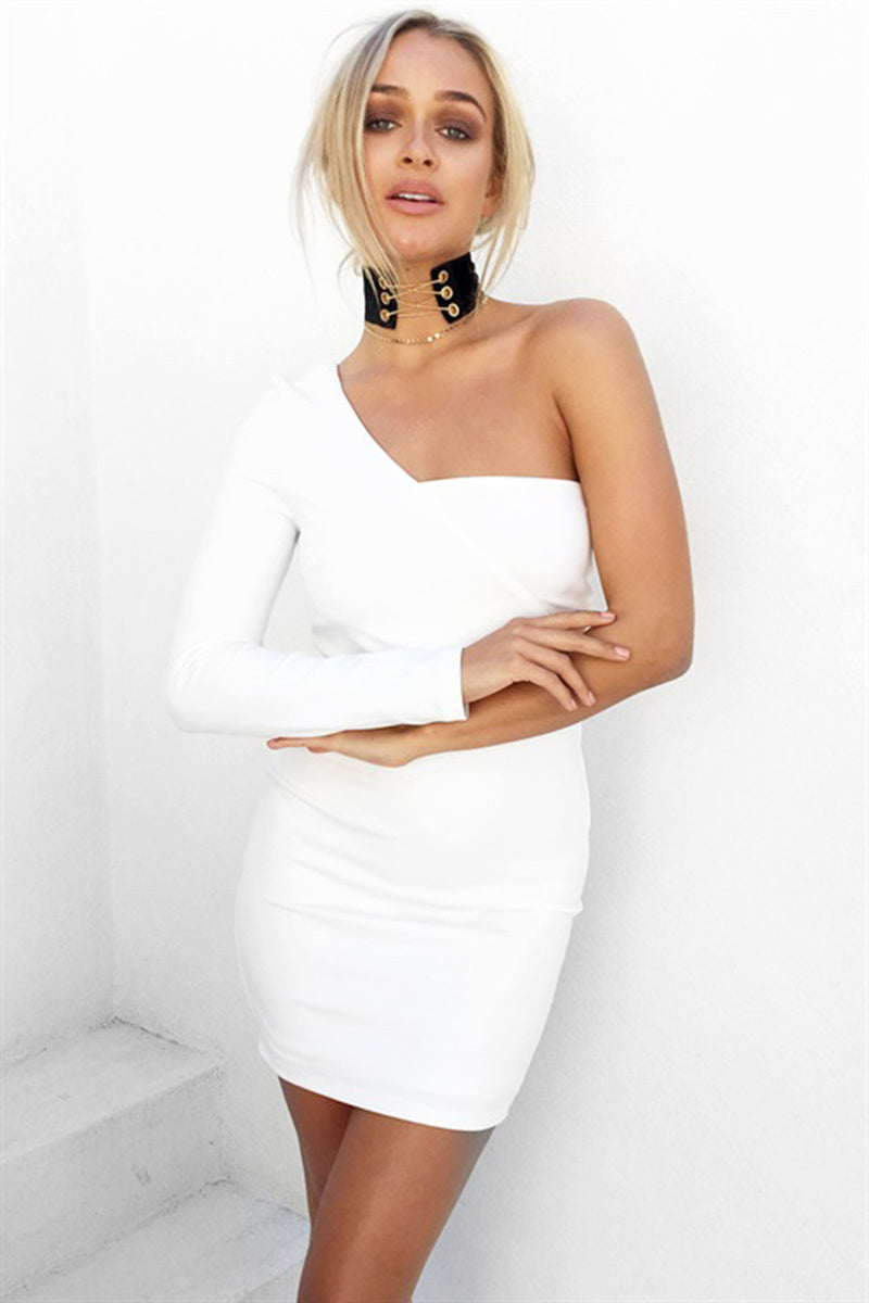 White Long Sleeve Wrapped One Shoulder Bodycon Dress - Oh Yours Fashion - 5