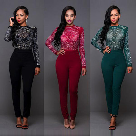 Hot Drilling Long Sleeve High Neck Long Jumpsuits