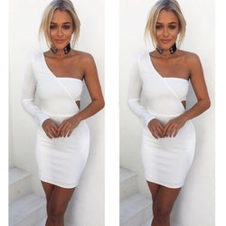 White Long Sleeve Wrapped One Shoulder Bodycon Dress - Oh Yours Fashion - 1