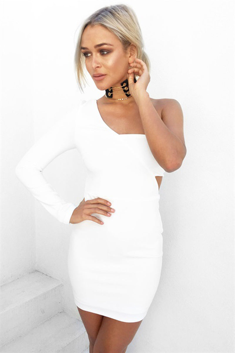 White Long Sleeve Wrapped One Shoulder Bodycon Dress - Oh Yours Fashion - 6
