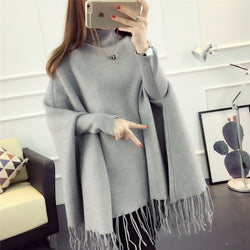 Fashion High Neck Tassel Cloak Sweater - Oh Yours Fashion - 1