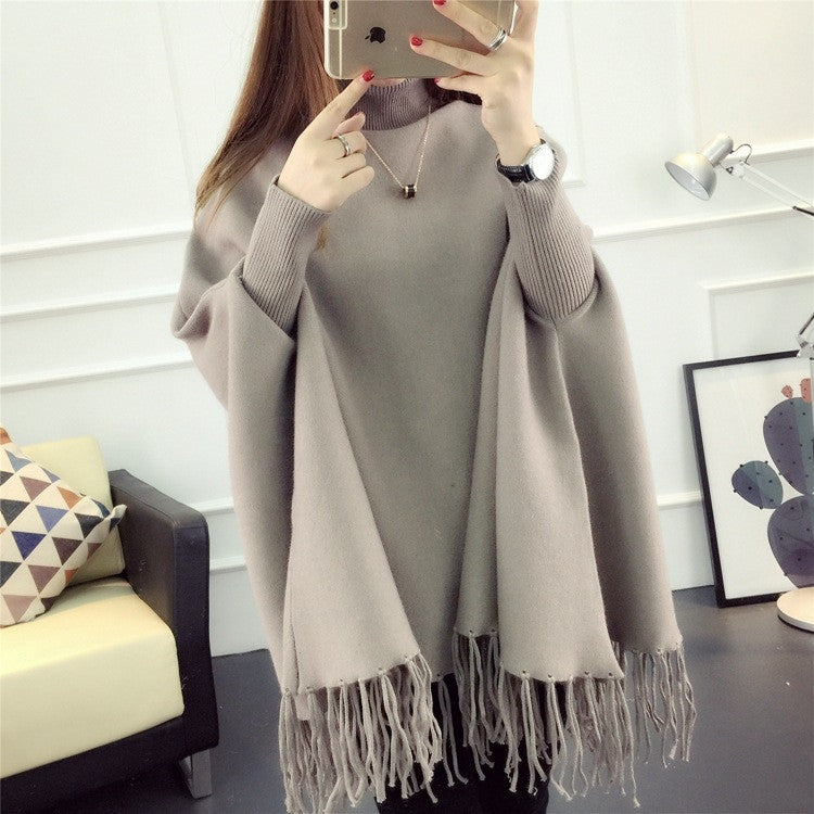 Fashion High Neck Tassel Cloak Sweater - Oh Yours Fashion - 6