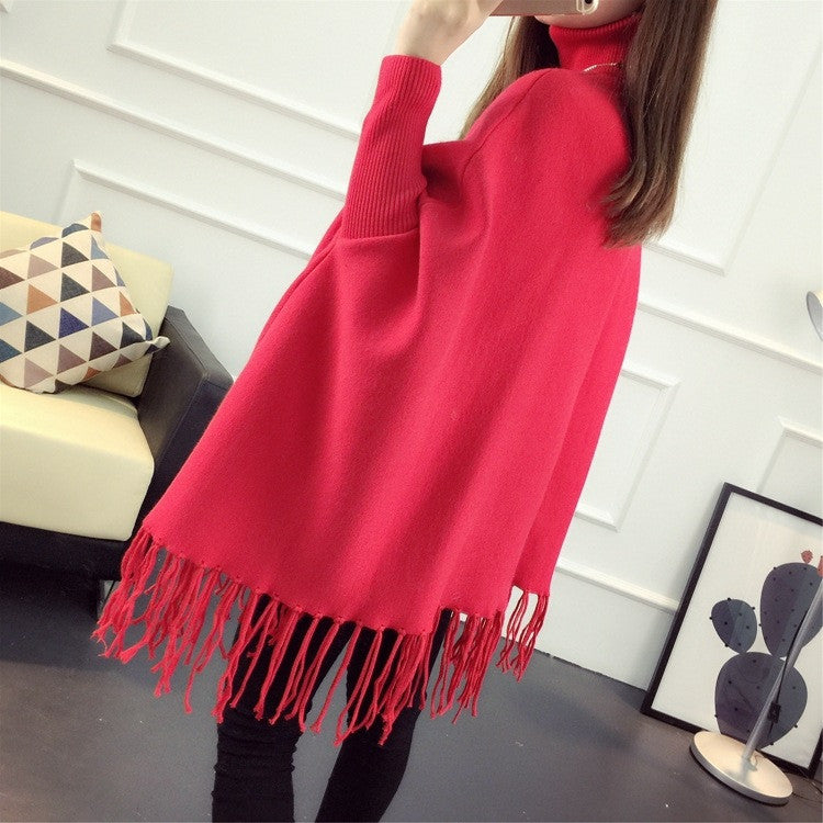 Fashion High Neck Tassel Cloak Sweater - Oh Yours Fashion - 7