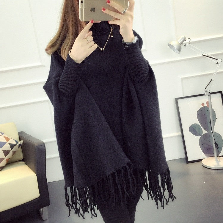 Fashion High Neck Tassel Cloak Sweater - Oh Yours Fashion - 5