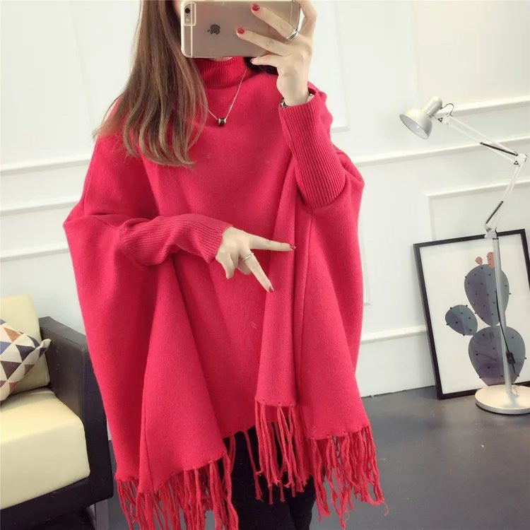 Fashion High Neck Tassel Cloak Sweater - Oh Yours Fashion - 3