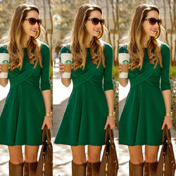 Fashion Cross Long Sleeve Scoop Short A-Line Dress - Oh Yours Fashion - 1