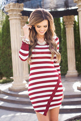 Classic Long Sleeve Scoop Stripe Irregular Short Dress - Oh Yours Fashion - 3