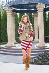 Classic Long Sleeve Scoop Stripe Irregular Short Dress - Oh Yours Fashion - 9