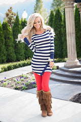 Classic Long Sleeve Scoop Stripe Irregular Short Dress - Oh Yours Fashion - 5