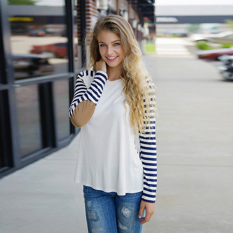 Fashion Long Sleeve Scoop Patchwork Stripe Blouse - Oh Yours Fashion - 1