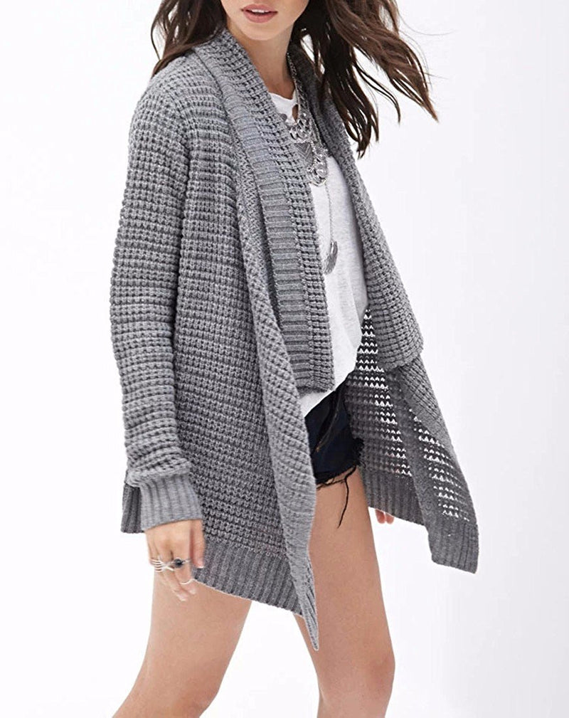 Leisure Hollow-Out Irregular Ladies Knitted Cardigan - Oh Yours Fashion - 5