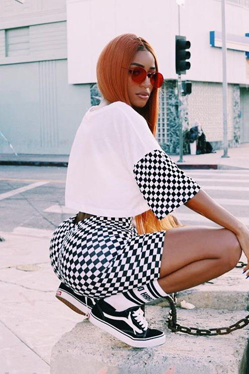 Print Plaid Loose T-shirt with Shorts Two Pieces Set