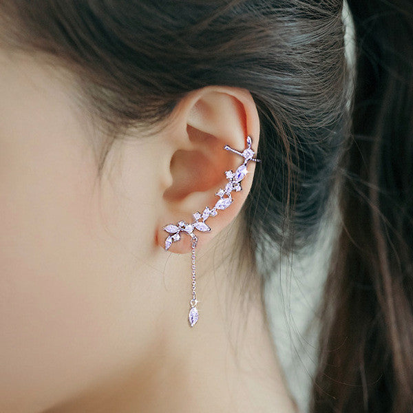 Charming Crystal Tassel Ear Clip - Oh Yours Fashion - 2