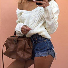 Bubble Hollow Out Long-Sleeved Sweater - Oh Yours Fashion - 6