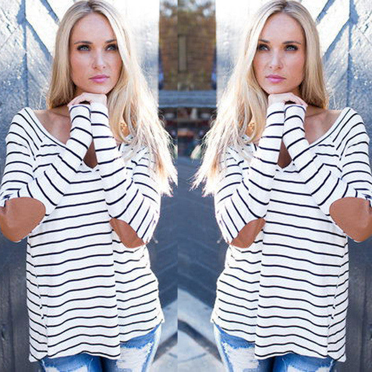 Fashion Stripe Print V Neck Long Sleeve Blouse - Oh Yours Fashion - 1