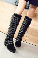 Multilayer Buckle Belt Tall Canister Frosted Boots - Oh Yours Fashion - 2