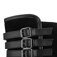 Multilayer Buckle Belt Tall Canister Frosted Boots - Oh Yours Fashion - 7