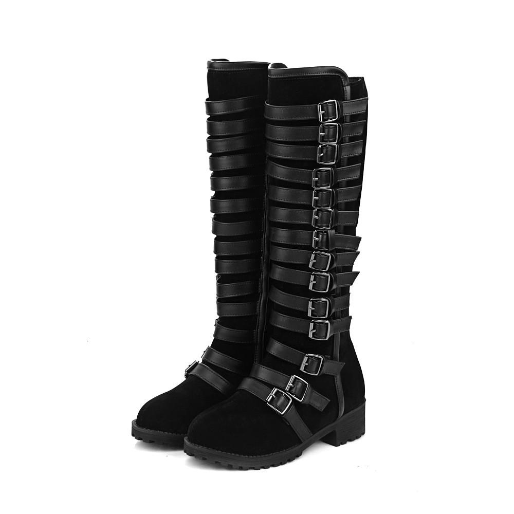 Multilayer Buckle Belt Tall Canister Frosted Boots - Oh Yours Fashion - 1
