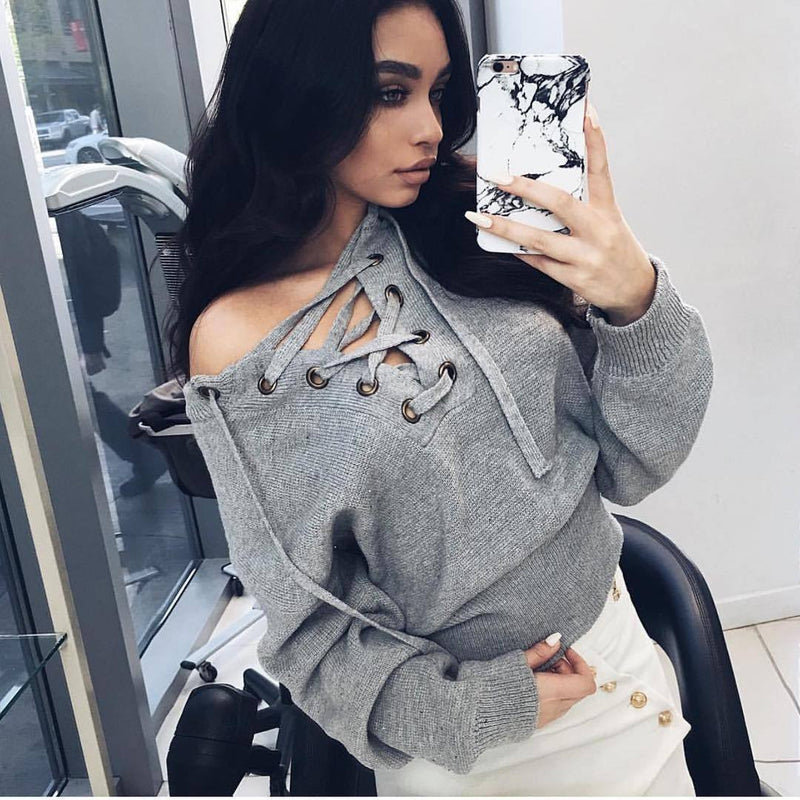 Sexy Deep V Off-Shoulder Lace Up Sweater - Oh Yours Fashion - 7