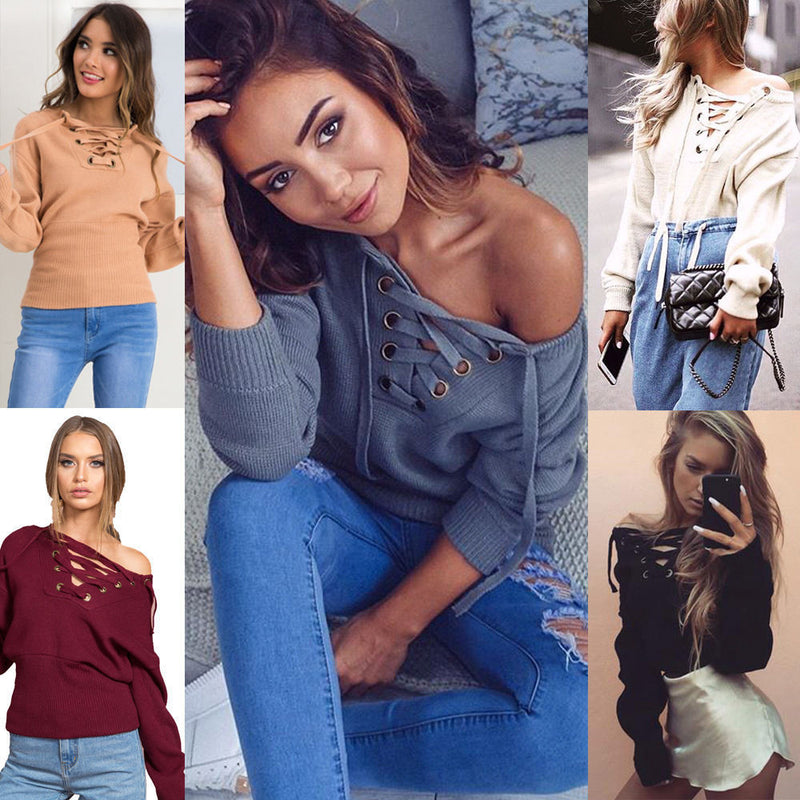 Sexy Deep V Off-Shoulder Lace Up Sweater - Oh Yours Fashion - 8