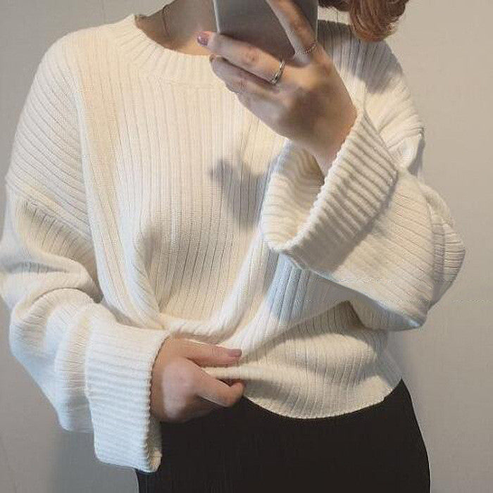 Retro Loose Ribbed Knit Bell Long-Sleeved Sweater - Oh Yours Fashion - 3