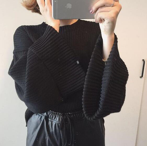 Retro Loose Ribbed Knit Bell Long-Sleeved Sweater - Oh Yours Fashion - 5