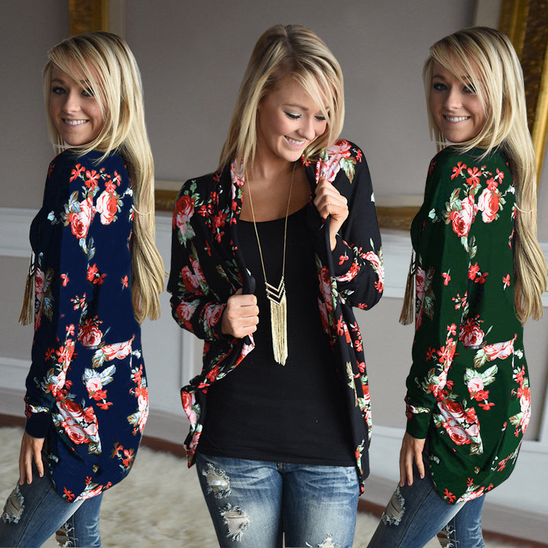 Floral Print Long Sleeves Irregular Long T-shirt - Oh Yours Fashion - 1