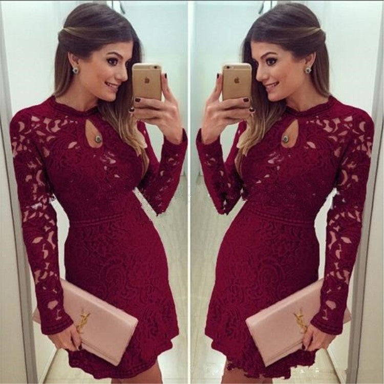 Sexy Long Sleeve Hollow Out Lace Short Dress - Oh Yours Fashion - 1