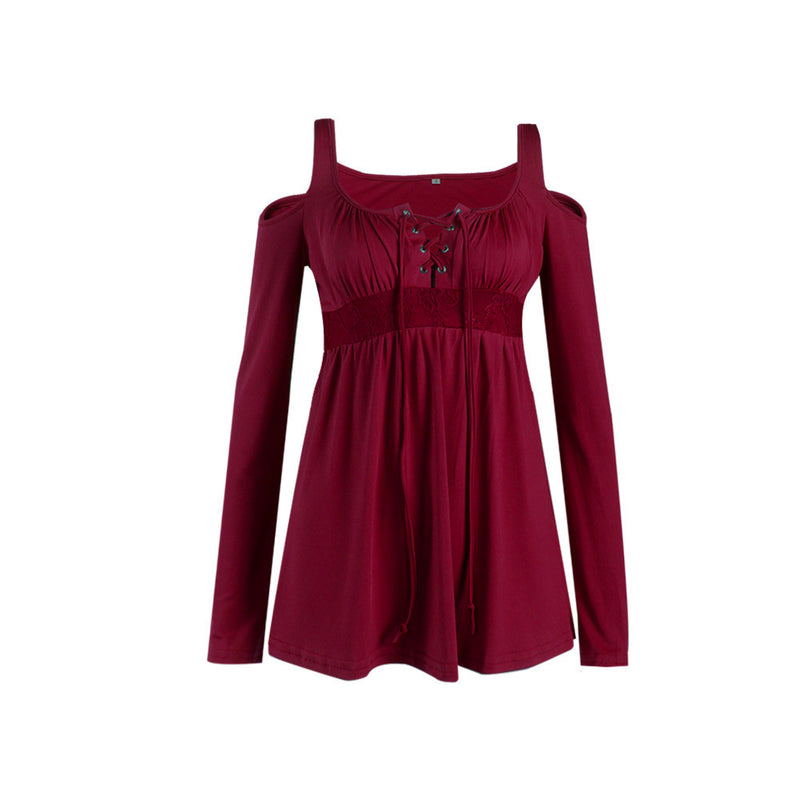 Square Straps Bear Shoulder Pleated Loose Blouse - Oh Yours Fashion - 10