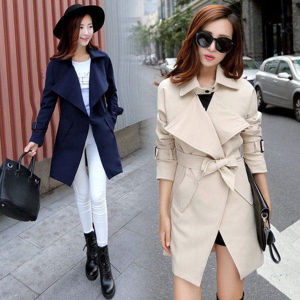 Turn-down Collar Pocket Slim Plus Size Mid-length Coat - Oh Yours Fashion - 1