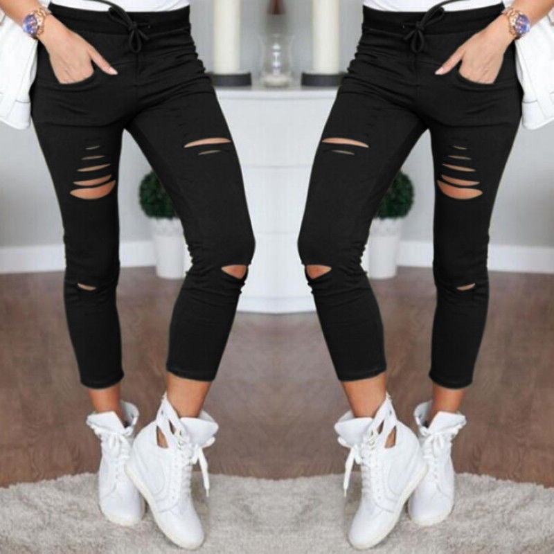 Fashion Ripped Draw String Waist Cotton Pencil Pants - Oh Yours Fashion - 6