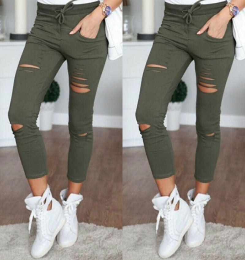 Fashion Ripped Draw String Waist Cotton Pencil Pants - Oh Yours Fashion - 9