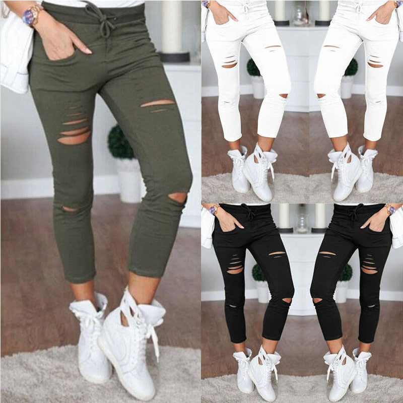 Fashion Ripped Draw String Waist Cotton Pencil Pants - Oh Yours Fashion - 1