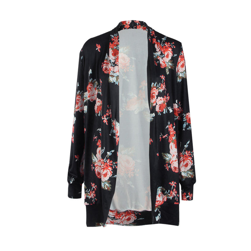 Floral Print Long Sleeves Irregular Long T-shirt - Oh Yours Fashion - 9